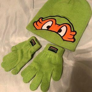Kids Ninja Turtle Beanie & Gloves